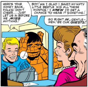 The Human Torch and the Thing return the stolen box office receipts.